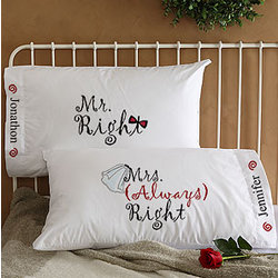 Mr and Mrs Right Graphic Pillow